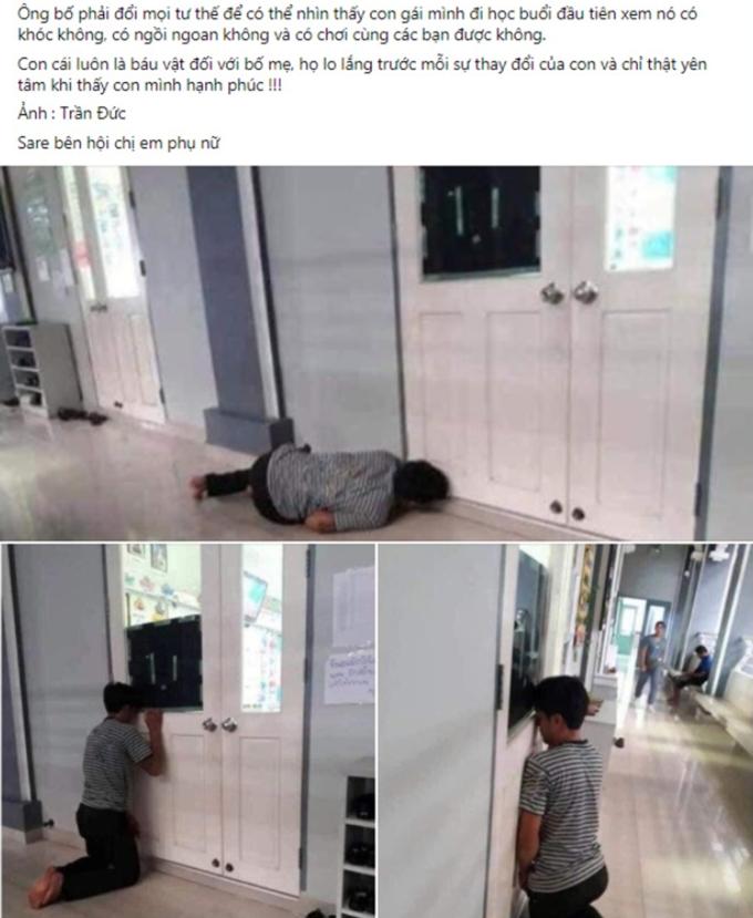 Ông bố lo âu ngày đầu con gái đến lớp