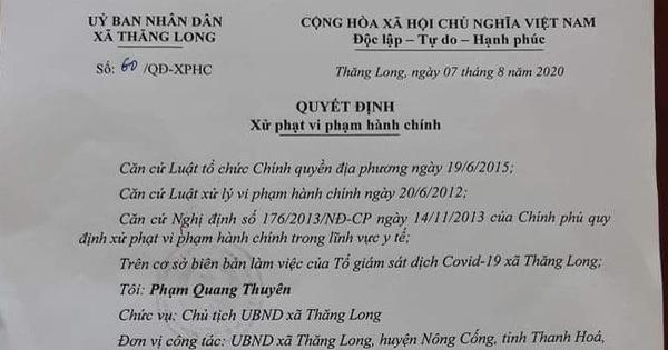 Xử phạt người từ Đà Nẵng về quê không chịu cách ly tại nhà