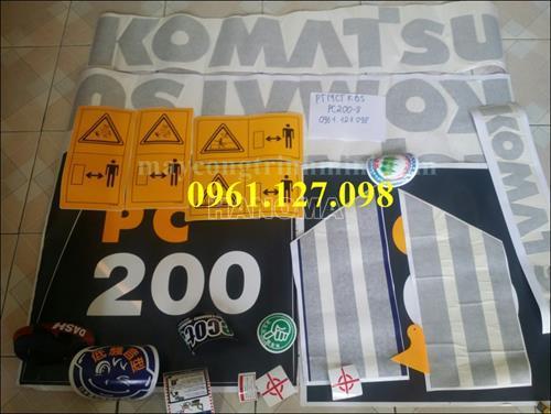 DECAL MÁY XÚC KOMATSU PC200-8 , TEM MÁY XÚC KOMATSU PC200-8