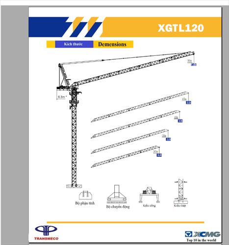 Cẩu tháp XCMG XGTL 120